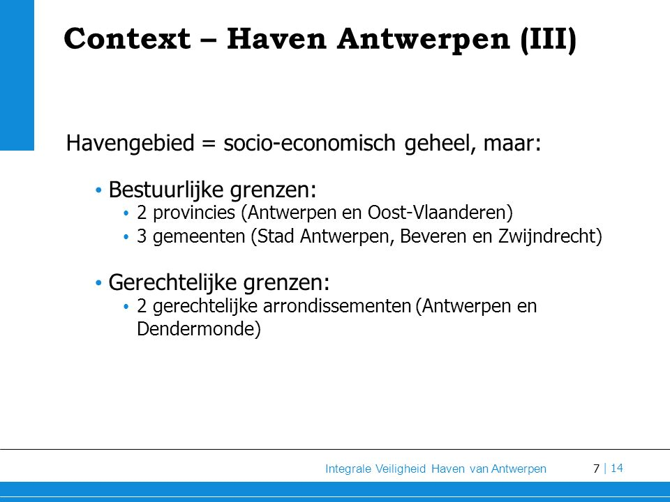Context – Haven Antwerpen (III)