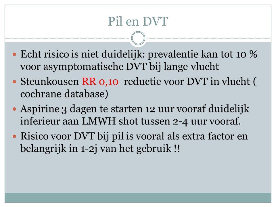 Pil en DVT Echt risico is niet duidelijk: prevalentie kan tot 10 % voor asymptomatische DVT bij lange vlucht.