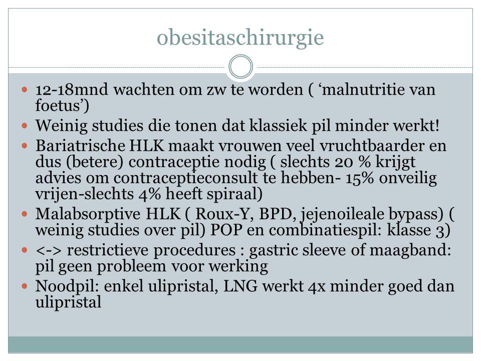 obesitaschirurgie 12-18mnd wachten om zw te worden ( 'malnutritie van foetus') Weinig studies die tonen dat klassiek pil minder werkt!
