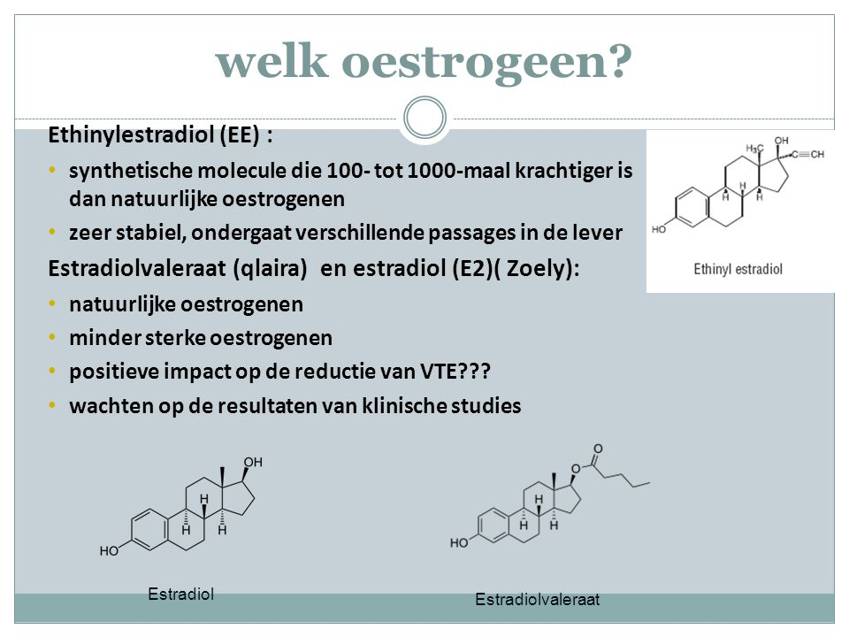 welk oestrogeen Ethinylestradiol (EE) :