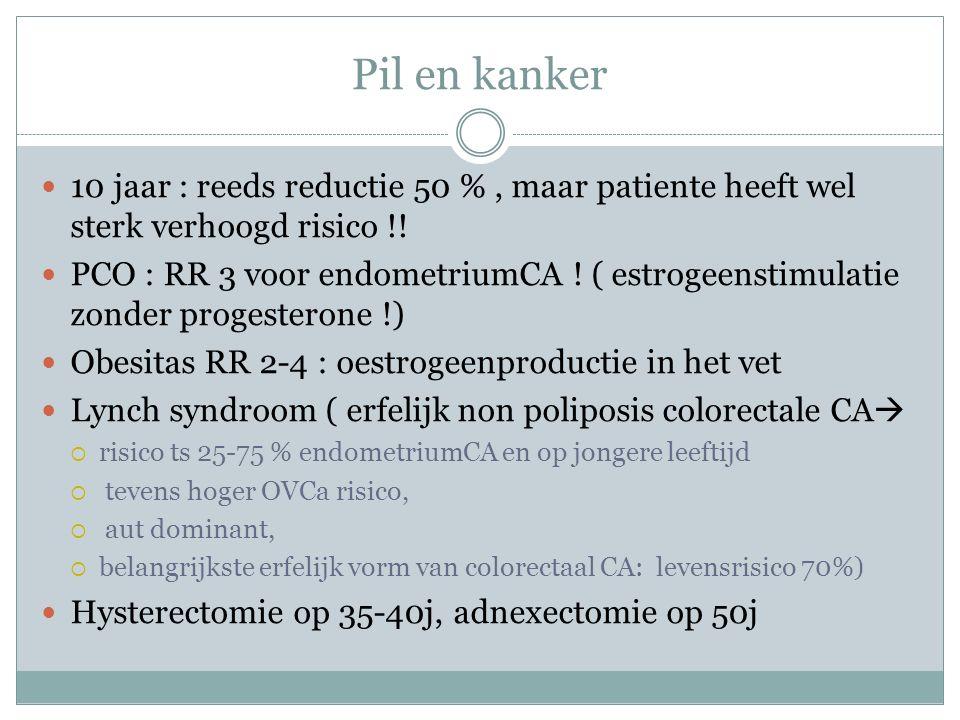 Pil en kanker 10 jaar : reeds reductie 50 % , maar patiente heeft wel sterk verhoogd risico !!