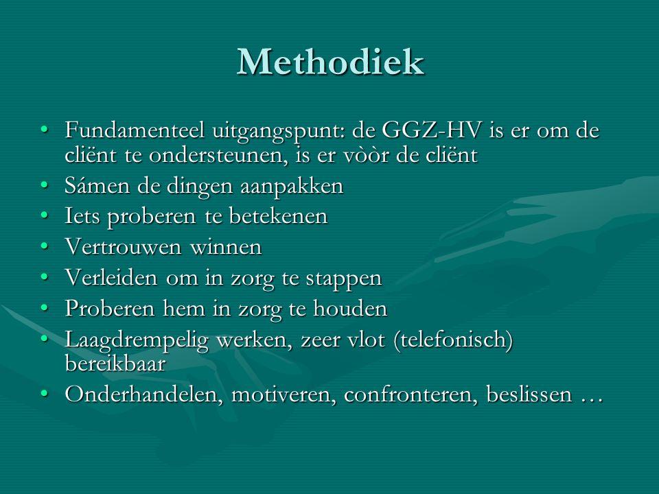 Methodiek Fundamenteel uitgangspunt: de GGZ-HV is er om de cliënt te ondersteunen, is er vòòr de cliënt.