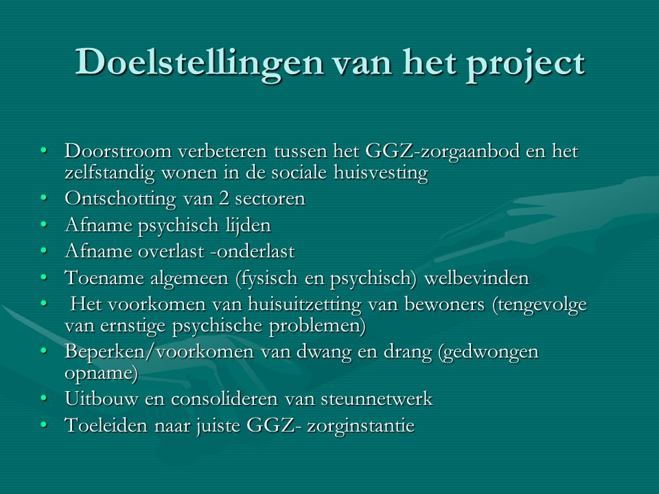 Doelstellingen van het project