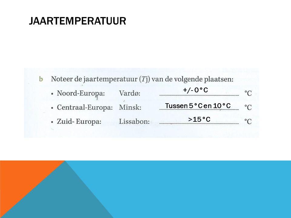 Jaartemperatuur +/- 0°C Tussen 5°C en 10°C >15°C