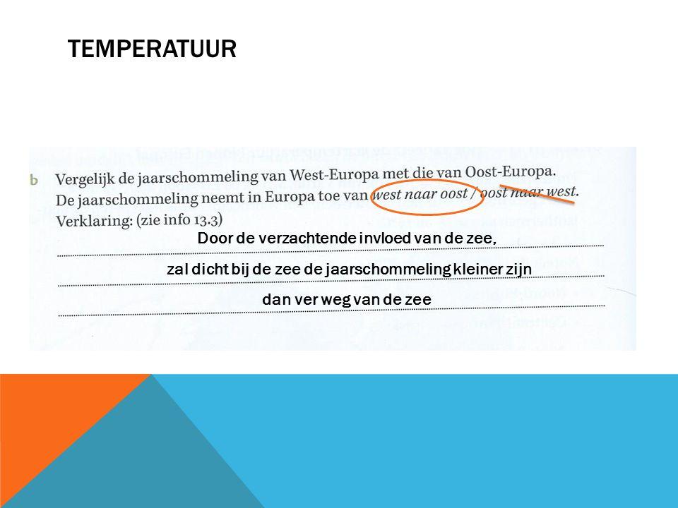 Temperatuur Door de verzachtende invloed van de zee,