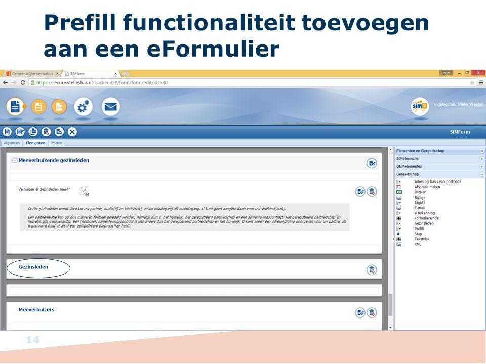 Prefill functionaliteit toevoegen aan een eFormulier