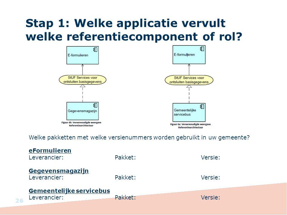 Stap 1: Welke applicatie vervult welke referentiecomponent of rol