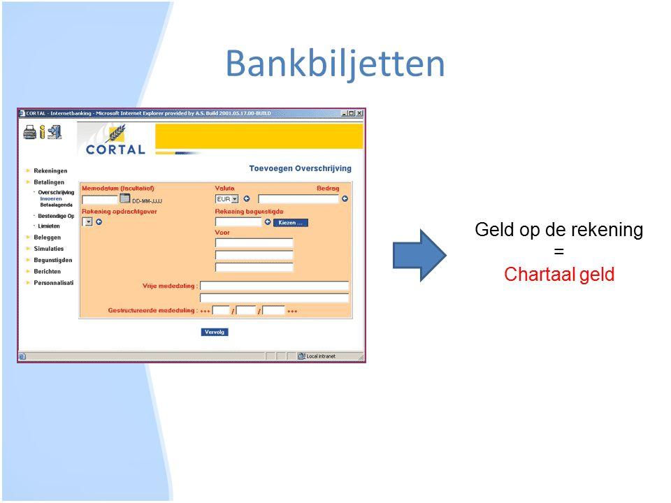 Bankbiljetten Geld op de rekening = Chartaal geld