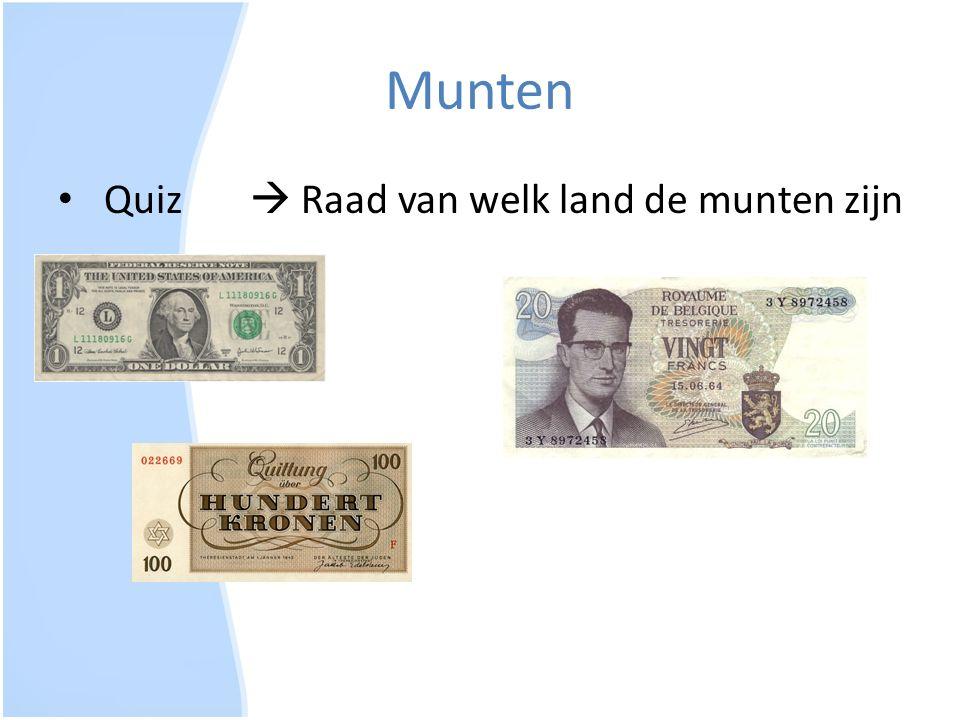 Munten Quiz  Raad van welk land de munten zijn