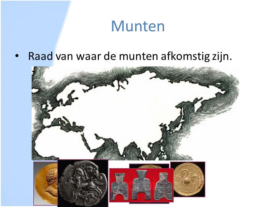 Munten Raad van waar de munten afkomstig zijn.