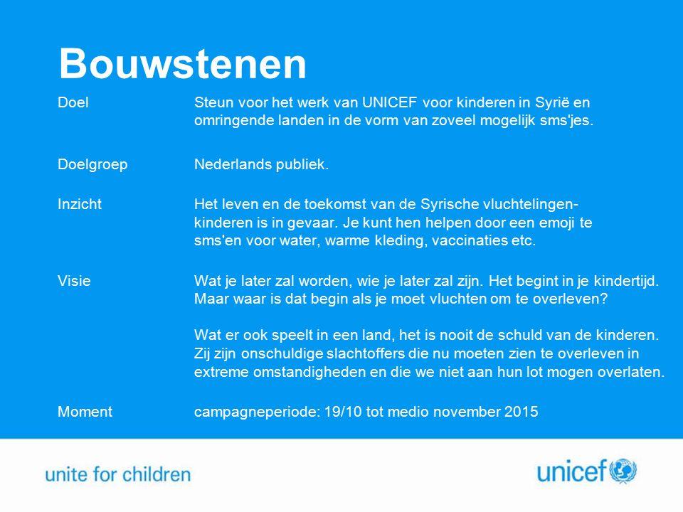Bouwstenen Doel Steun voor het werk van UNICEF voor kinderen in Syrië en omringende landen in de vorm van zoveel mogelijk sms jes.