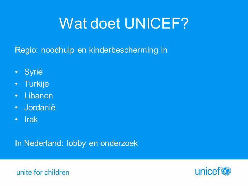 Wat doet UNICEF Regio: noodhulp en kinderbescherming in Syrië Turkije