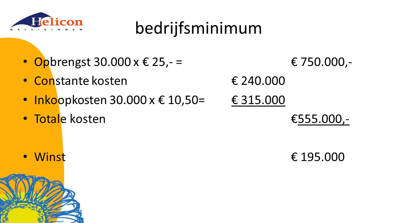 bedrijfsminimum Opbrengst 30.000 x € 25,- = € 750.000,-