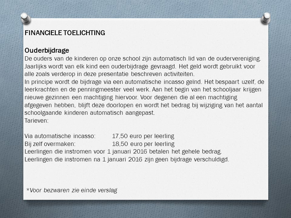 FINANCIELE TOELICHTING Ouderbijdrage