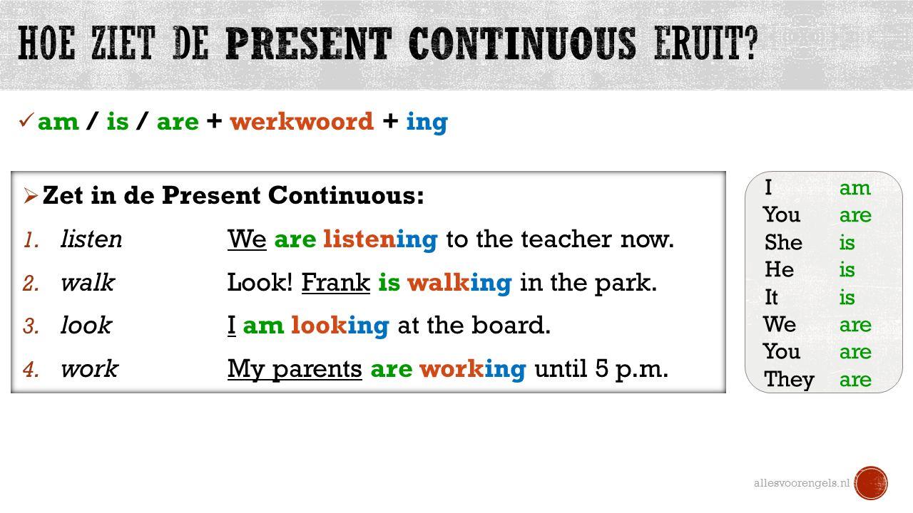 Hoe ziet de Present Continuous eruit