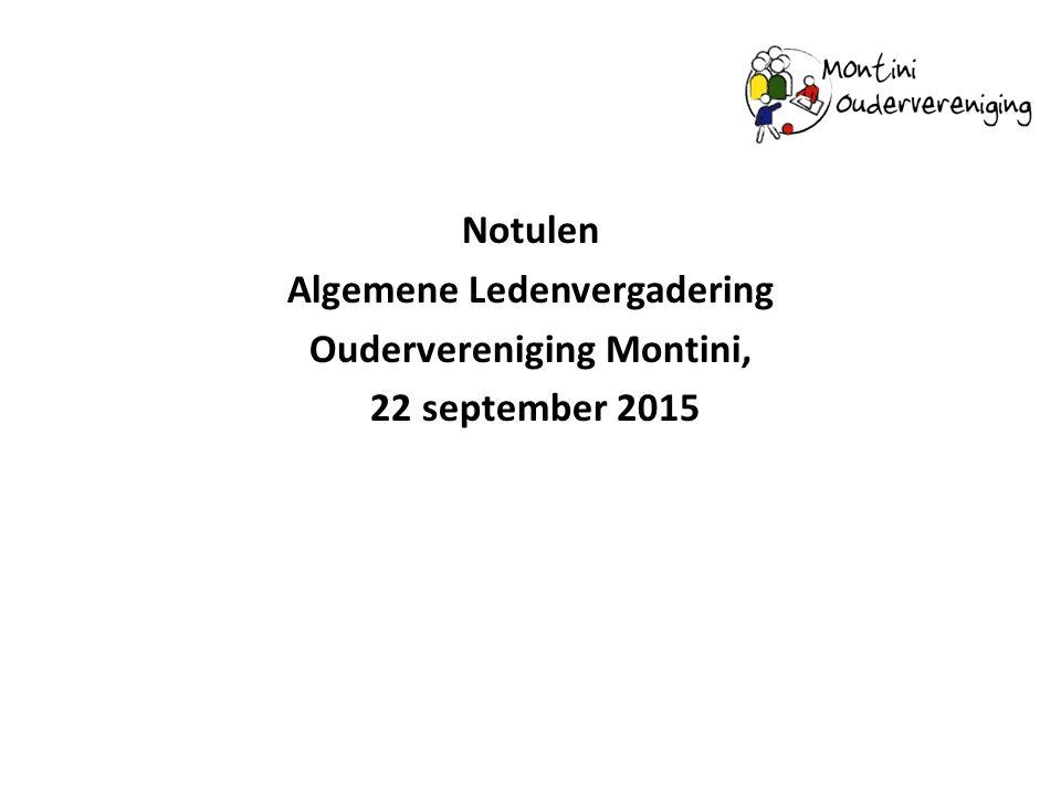 Notulen Algemene Ledenvergadering Oudervereniging Montini, 22 september 2015