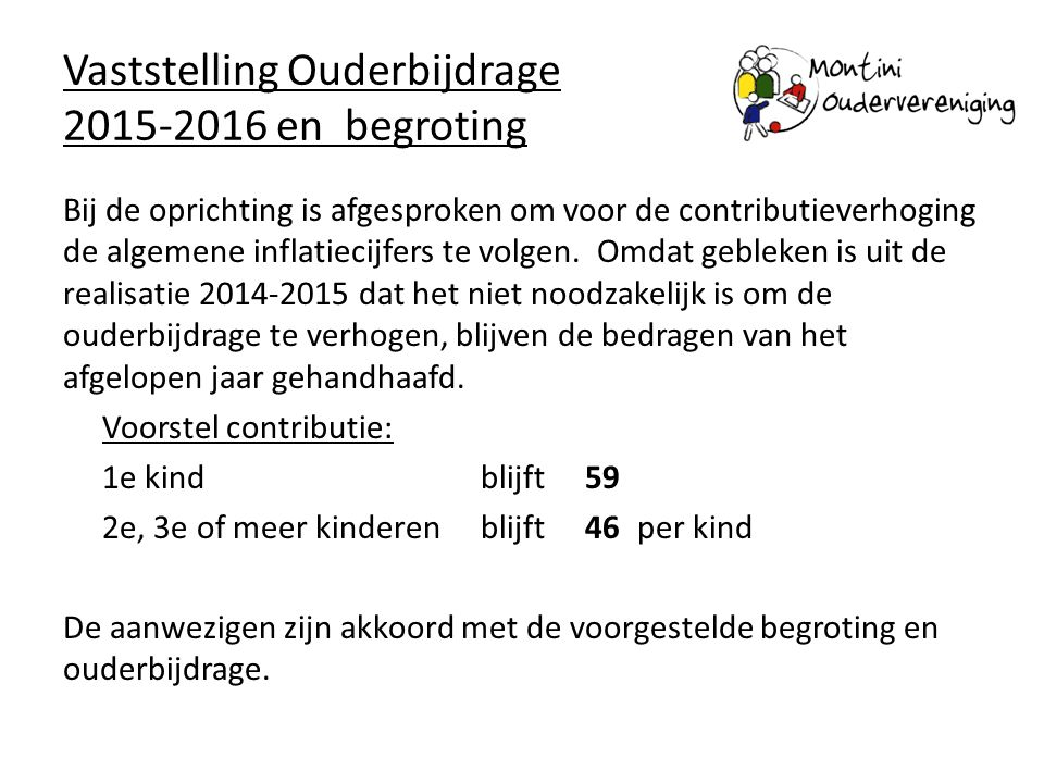 Vaststelling Ouderbijdrage 2015-2016 en begroting