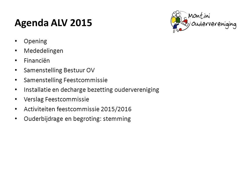 Agenda ALV 2015 Opening Mededelingen Financiën