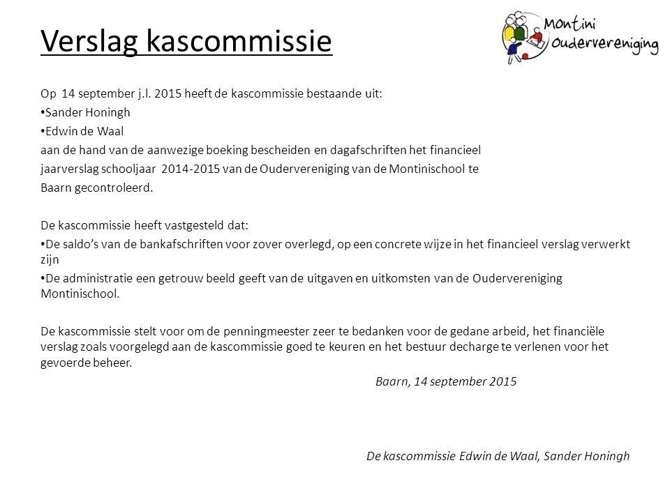 Verslag kascommissie Op 14 september j.l. 2015 heeft de kascommissie bestaande uit: Sander Honingh.