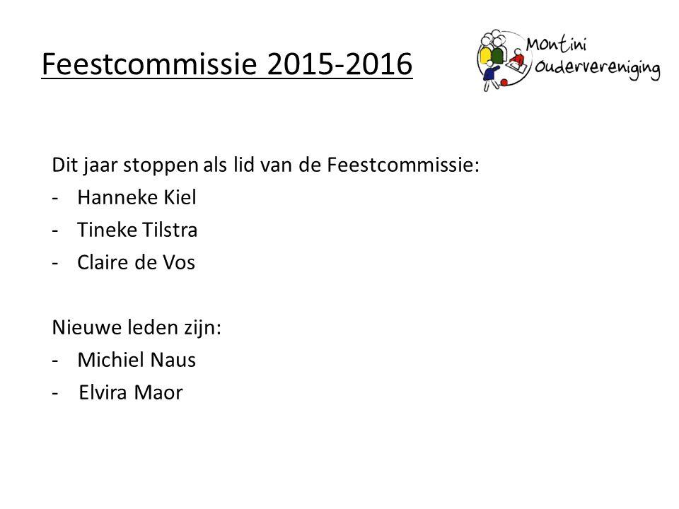 Feestcommissie 2015-2016 Dit jaar stoppen als lid van de Feestcommissie: Hanneke Kiel. Tineke Tilstra.
