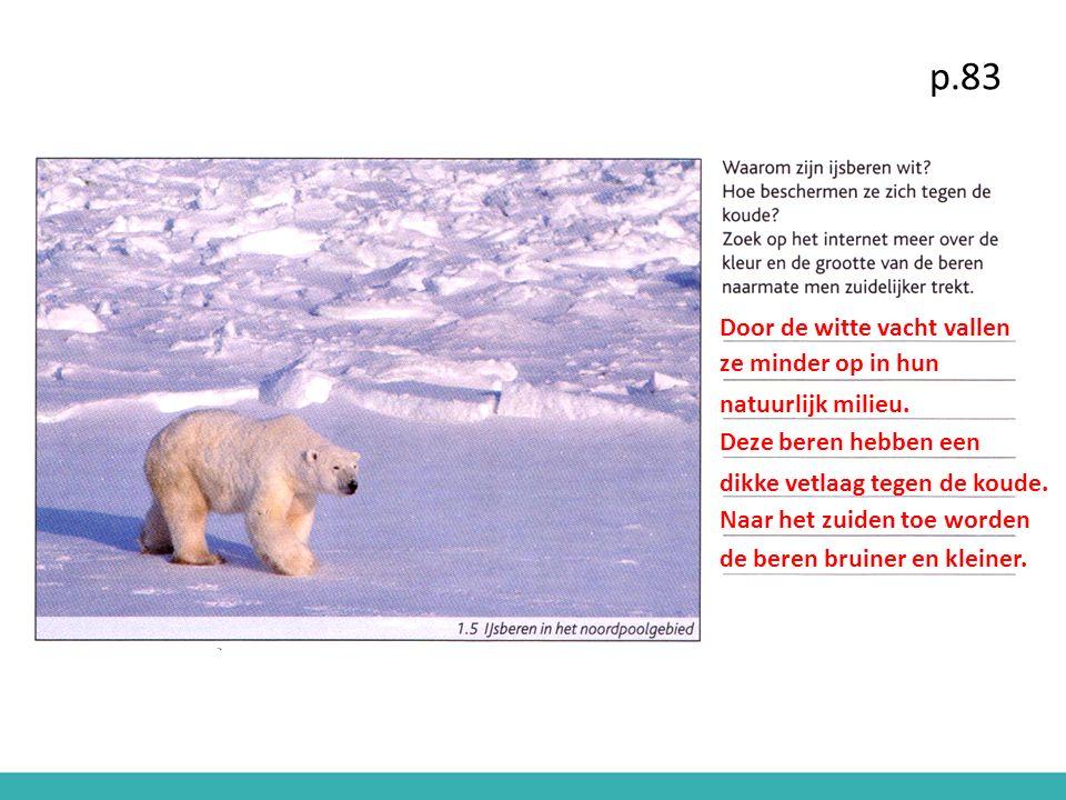 p.83 Door de witte vacht vallen ze minder op in hun natuurlijk milieu.