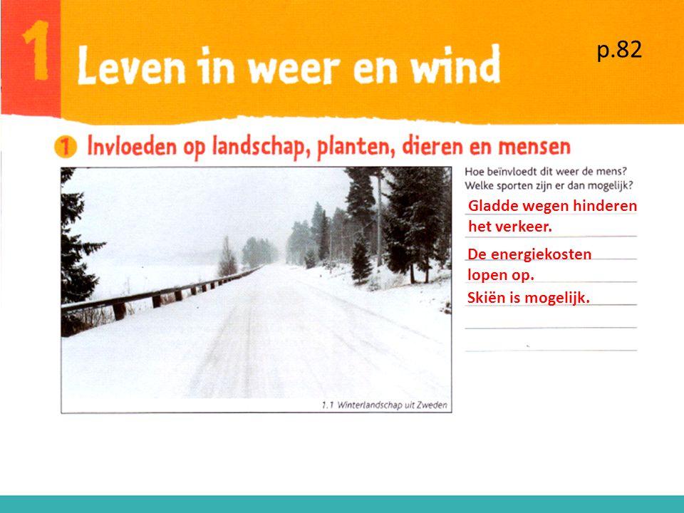 p.82 Gladde wegen hinderen het verkeer. De energiekosten lopen op.