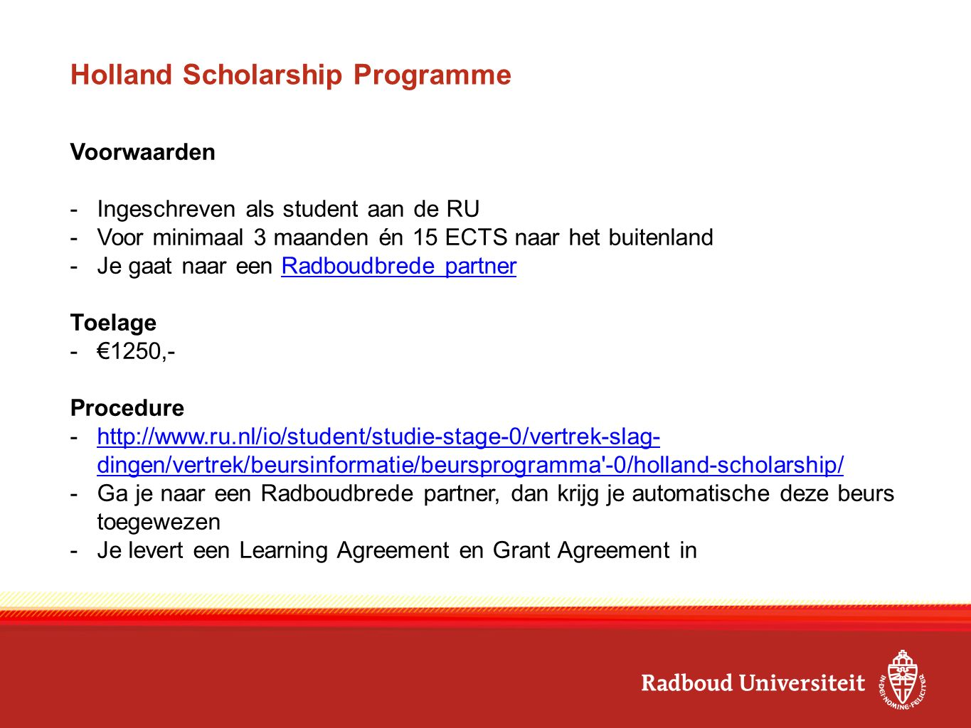Holland Scholarship Programme