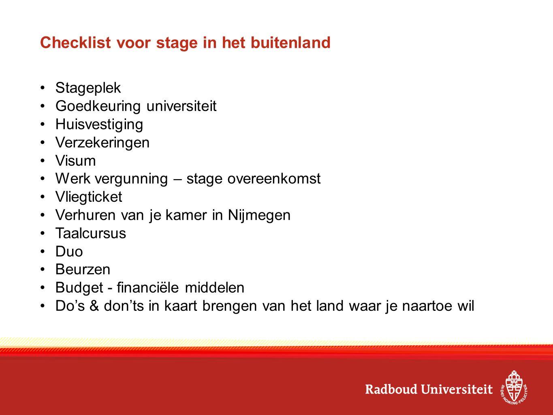 Checklist voor stage in het buitenland