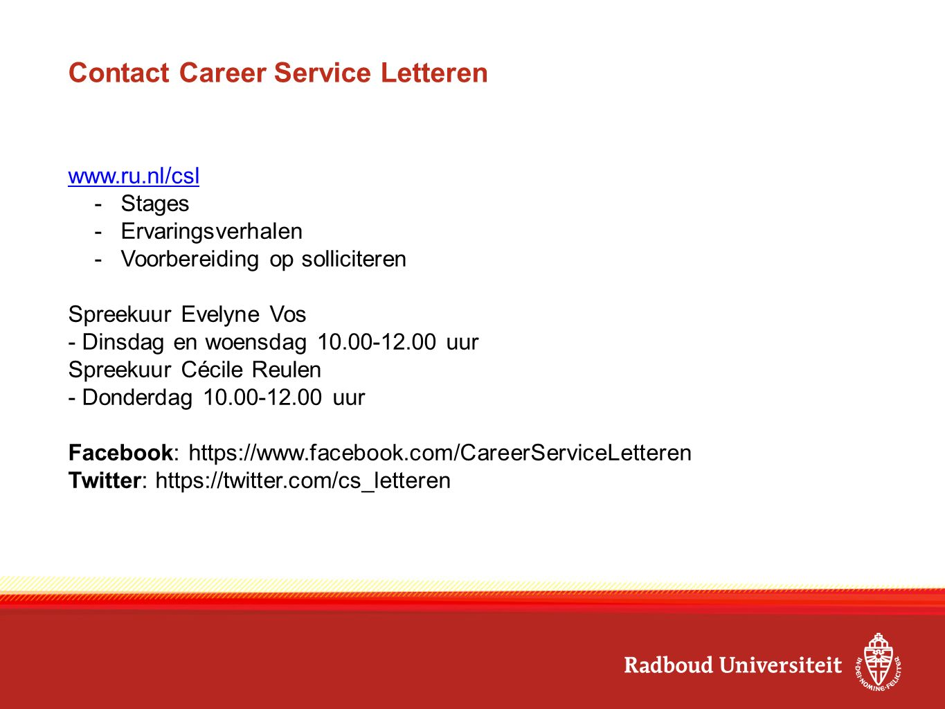 Contact Career Service Letteren