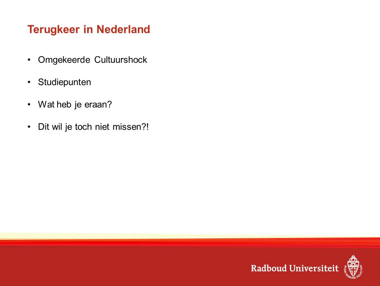 Terugkeer in Nederland