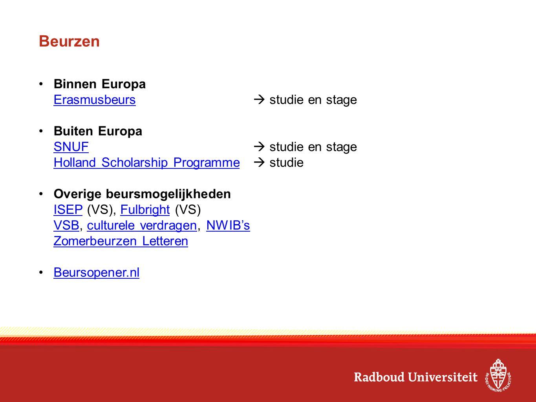 Beurzen Binnen Europa Erasmusbeurs  studie en stage Buiten Europa