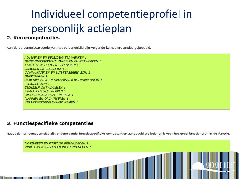 Individueel competentieprofiel in persoonlijk actieplan