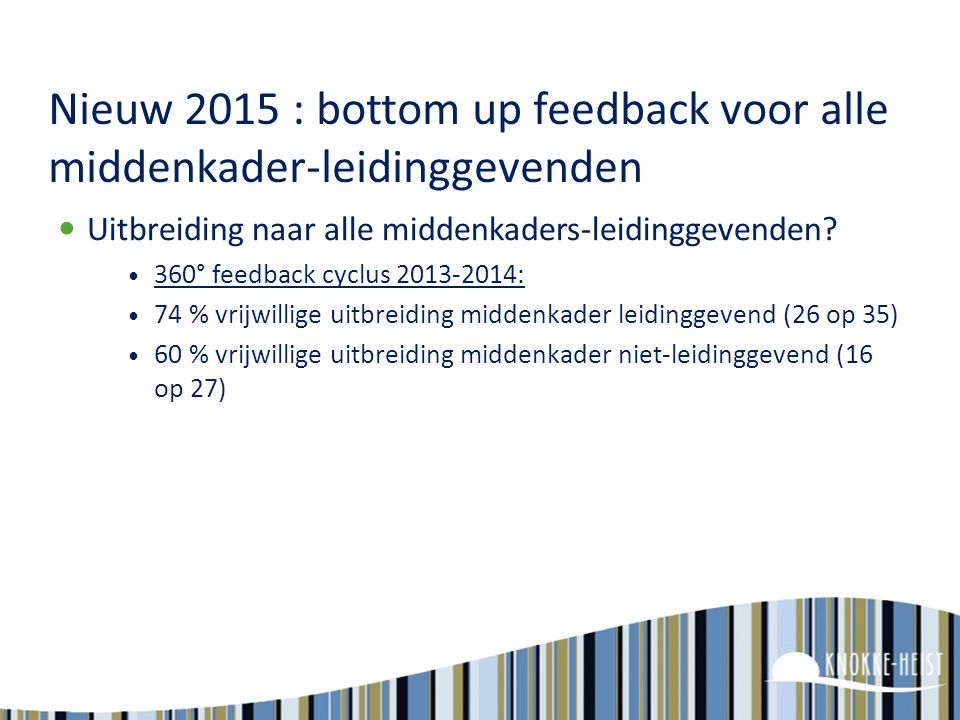 Nieuw 2015 : bottom up feedback voor alle middenkader-leidinggevenden