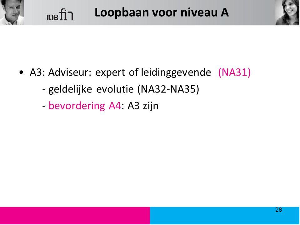 Loopbaan voor niveau A A3: Adviseur: expert of leidinggevende (NA31)