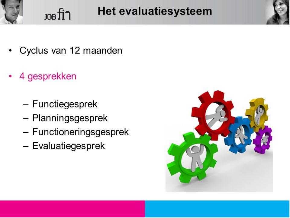 Het evaluatiesysteem Cyclus van 12 maanden 4 gesprekken Functiegesprek