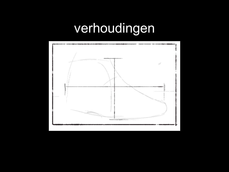 verhoudingen bepaal de breedte met het meten en teken deze. hier is de helft van de breedte ietsje kleiner dan de hoogte.
