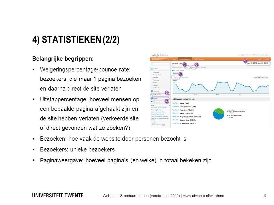 4) STATISTIEKEN (2/2) Belangrijke begrippen: