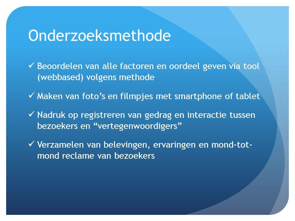 Onderzoeksmethode Beoordelen van alle factoren en oordeel geven via tool (webbased) volgens methode.