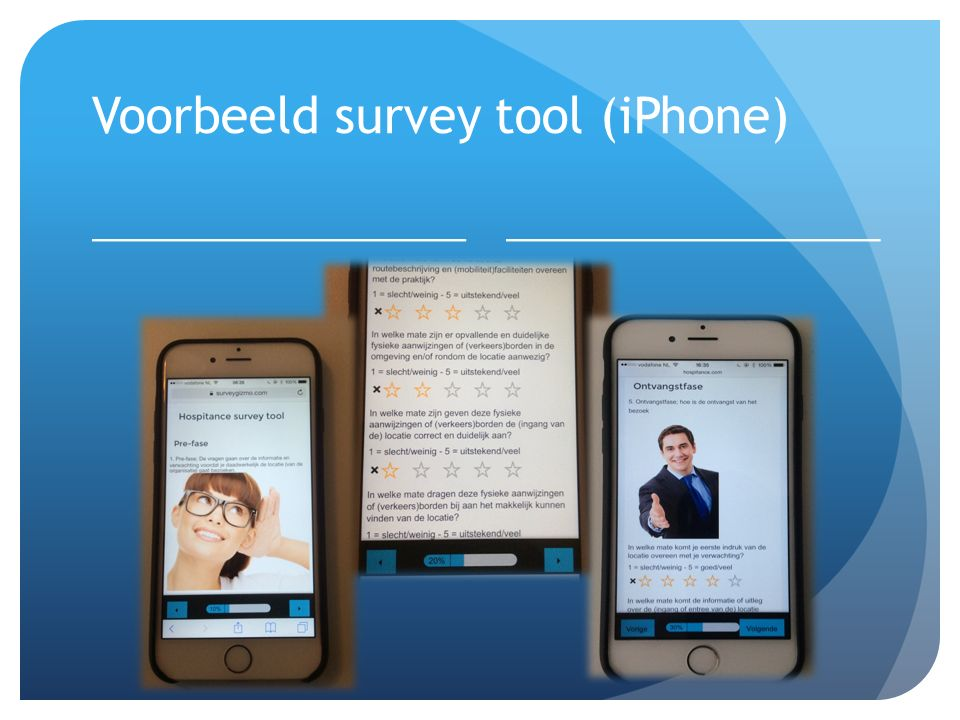 Voorbeeld survey tool (iPhone)