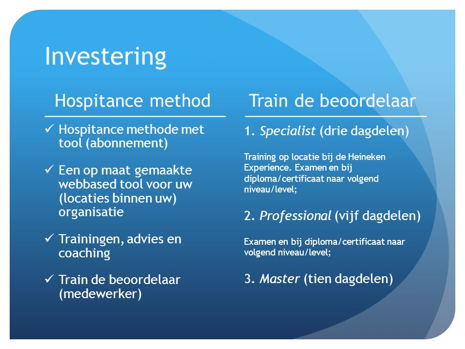 Investering Hospitance method Train de beoordelaar