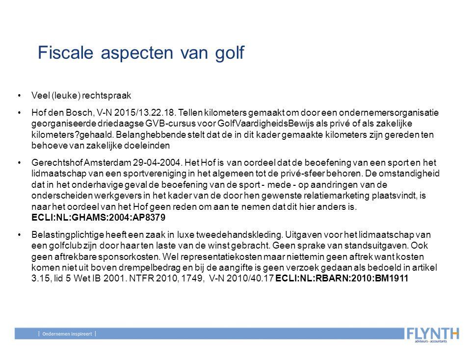 Fiscale aspecten van golf