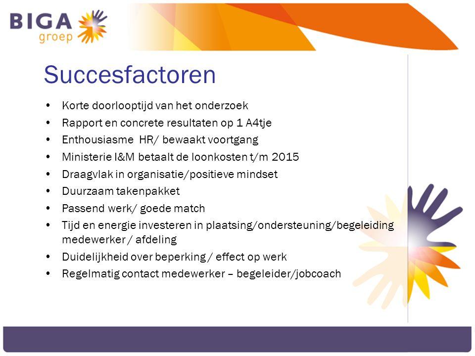 Succesfactoren Korte doorlooptijd van het onderzoek