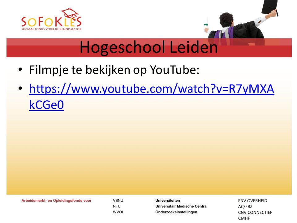 Hogeschool Leiden Filmpje te bekijken op YouTube: