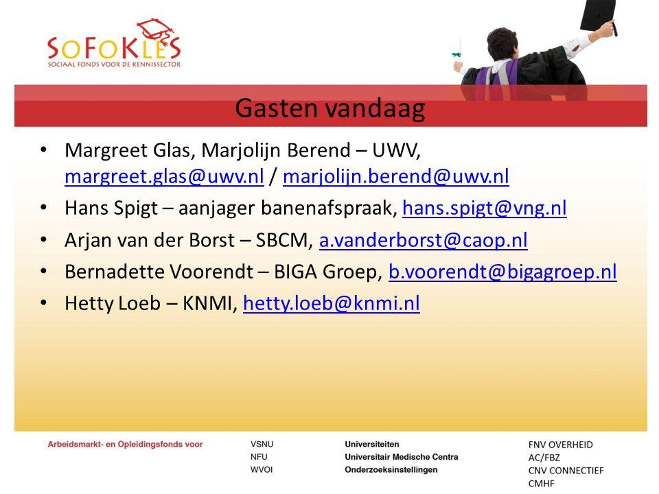 Gasten vandaag Margreet Glas, Marjolijn Berend – UWV, margreet.glas@uwv.nl / marjolijn.berend@uwv.nl.
