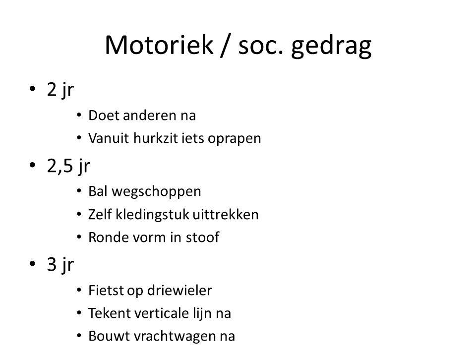 Motoriek / soc. gedrag 2 jr 2,5 jr 3 jr Doet anderen na