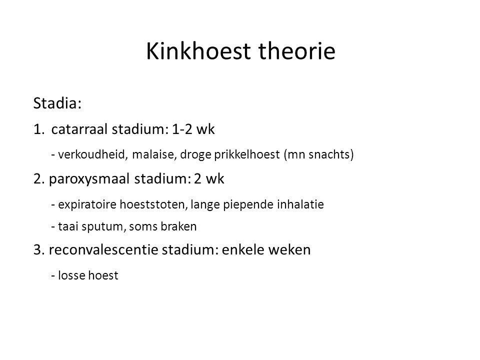 Kinkhoest theorie Stadia: catarraal stadium: 1-2 wk