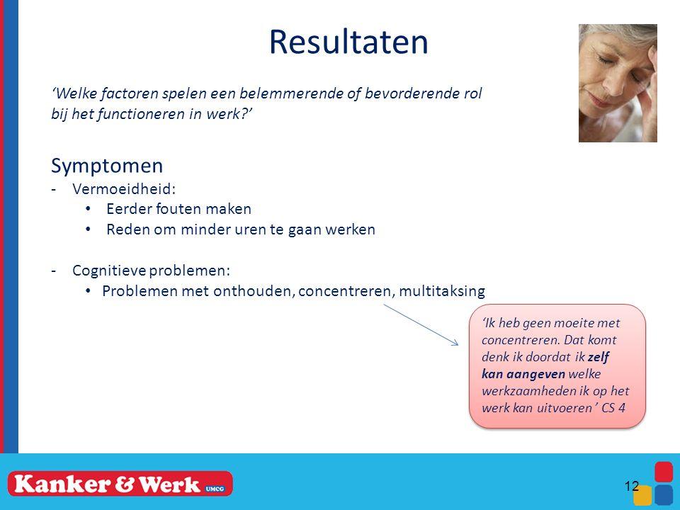 Resultaten 'Welke factoren spelen een belemmerende of bevorderende rol. bij het functioneren in werk '