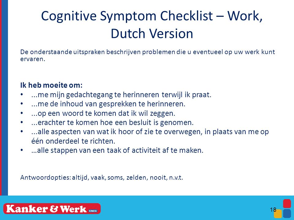 Cognitive Symptom Checklist – Work, Dutch Version