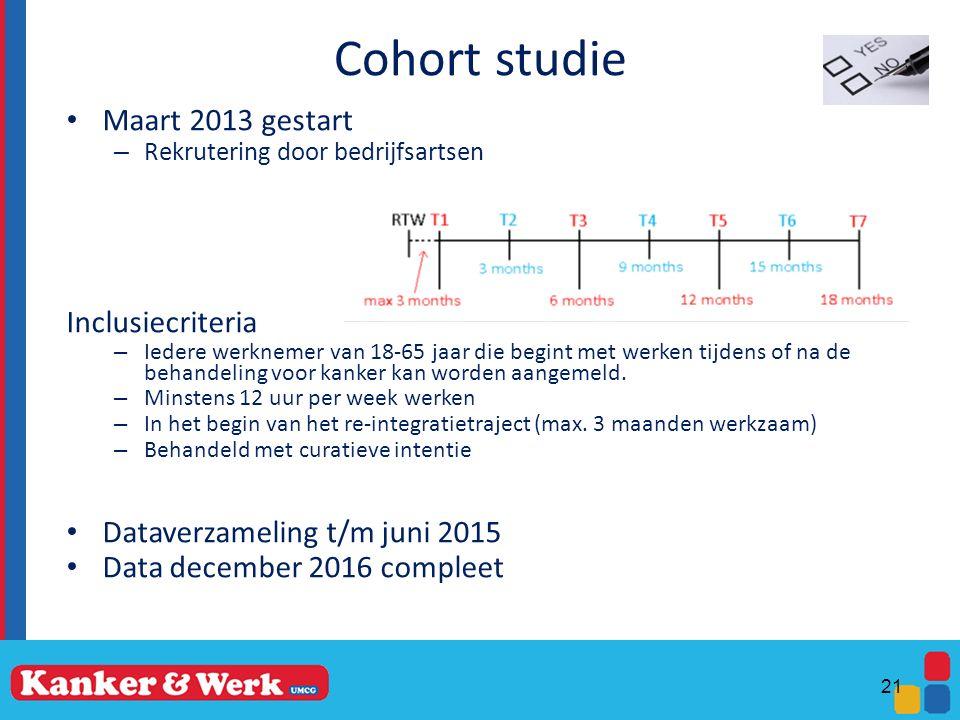 Cohort studie Maart 2013 gestart Inclusiecriteria