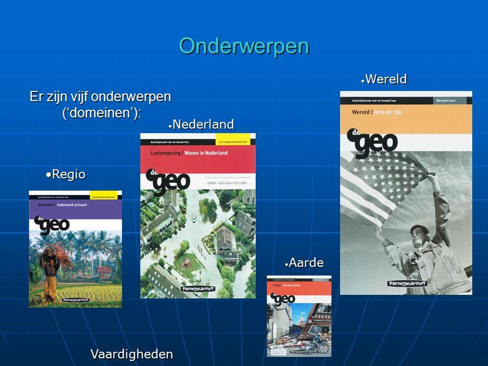 Onderwerpen Er zijn vijf onderwerpen ('domeinen'): Wereld Nederland